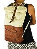 100 % Hanf Rucksack von virblatt, aus Naturhanf und braun gefärbtem Hanf, verziert mit handgefertigten Stickereien - Klassisch