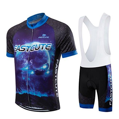 FASTCURE Herren Fahrradtrikot Pro Team Short Sleeve + 3D gepolsterte Trägerhose, Herren, Farbe, 1, Large Windstopper Short Sleeve