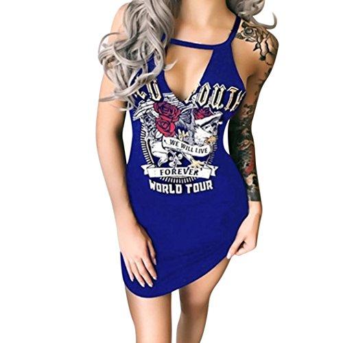 Damen Kleider Frauen Bodycon Sommerkleider Ärmelloses Minikleid Skull Bedruckt T-Shirt Kleid Vintage Partykleid Cocktailkleid Weste Kleid Bleistiftkleid Casual A Line Etuikleid (4XL, Blau#)