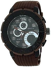 Geneva Analogue Gents Black Chrono Effect Dial Brown Rubber Strap Sporty Watch