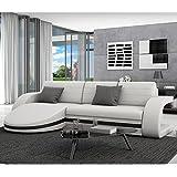 Innocent - sofá de esquina con función sueño, chaise longue de tipo Guiani, piel sintética y color blanco