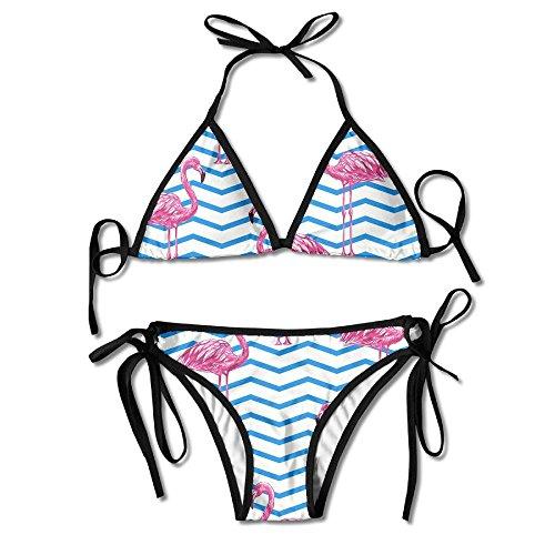 FDJKHY Personalized Women Bikini-Red Flamingos Swimsuit Beachwear