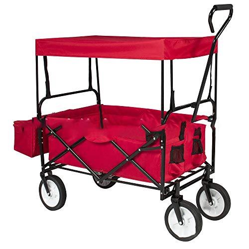 XQR Klappwagen für den Außenbereich, zusammenklappbarer Servierwagen mit abnehmbarem Verdeck und Ablagekorb für den Gartenwagen