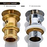 Hochwertig Ablaufgarnitur für den Waschtisch Pop Up Ventil Waschbecken Spüle Ablauf mit Überlauf Push-open-Technik Stöpsel Ablaufventil 2 Jahren Garantie