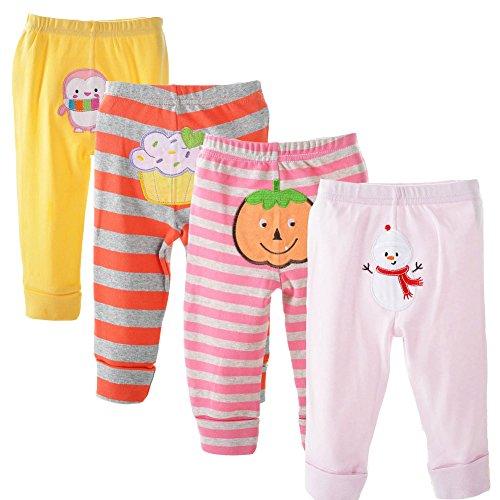danrol Baby Mädchen 4er Pack Cartoon Pants Set 100% Baumwolle Gr. 36 Monate, mehrfarbig