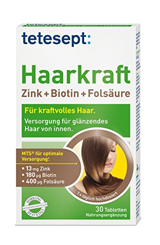 Tetesept Haarkraft Zink+Biotin+Folsäure, 30x Tabletten, 5er Pack