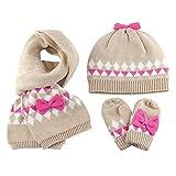 Guanti Sciarpa cappello lavorato a maglia Set 3 pezzi invernali Bebè Bambine 2-3 Anni Ragazze Doppio strato Crochet caldo Berretto in cotone Beanie manopole fazzoletto da collo, bowknot cachi M