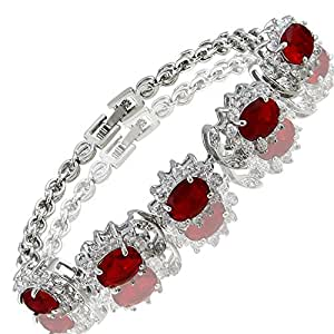 Charming! Red Ruby 18K White Gold Plated Gp Tennis Bracelet Jewelry Gift New