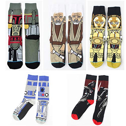 Voiks Men Casual Geometric Cartoon Pattern Cotton Long Socks Outdoor Sporting Casual...