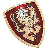 Liontouch - LT11350 - Bouclier de Chevalier Lion Doré - Taille Unique - Rouge