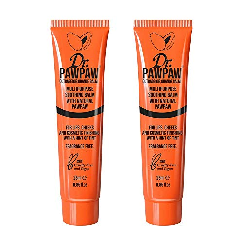Lippenbalsam-duo-pack (Dr.PAWPAW Outrageous Orange Balm Multi-Purpose Balm Duo Pack, For Lips, Cheeks & Other Cosmetic Finishing, 2 x 25ml Duo)