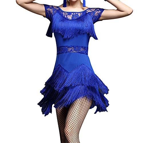 Glänzendes Tanzpartykleid für Frauen, Frauen Fransen Quasten Flapper Latin Tango Rumba Tanzkleid Kurzarm Mesh Floral Lace Ballroom Dancewear Pratice Wettbewerb Leistung Kostüme Quaste funkelnde - Lace Unitard Tanz Kostüm