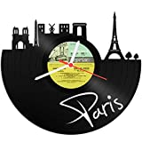 GRAVURZEILE Wanduhr aus Vinyl Schallplattenuhr Skyline Paris Upcycling Design Uhr Wand-Deko Vintage-Uhr Wand-Dekoration Retro-Uhr Made in Germany