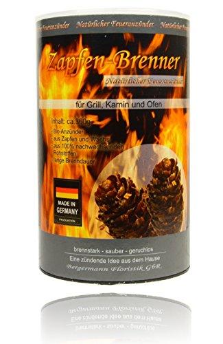 Natürlich Zapfen (Zapfen Brenner - ökologischer Grill- und Kaminanzünder, 360g=ca. 60 Zapfen je Dose, natürlicher Anzünder, Naturprodukt)