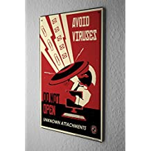 Cartel de chapa Placa metal tin sign Retro Deco Virus informático Apéndice defensa 20X30 cm
