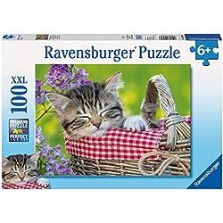 Ravensburger - Puzzles 100 piezas XXL, diseño Siesta en el cesto (10539 7)