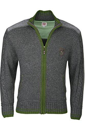 Herren Spieth & Wensky Trachten Strick-Jacke grau/grün 'Hannes', grau-grün, L