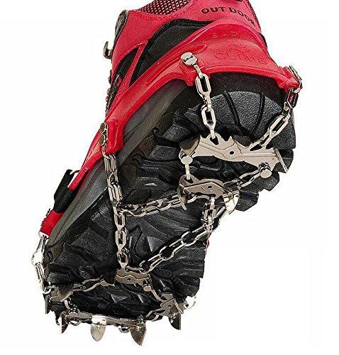 TTYY Eiskrallen Steigeisen rutschfeste Schuhe Abdeckung Edelstahl-Kette Outdoor Ski Wandern Eisklettern , Red