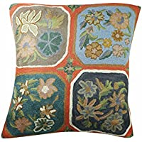 Mogul Interior Decorative Cushion Cover Exquisite Suzani Embroidered Handmade Pillow Cover 16X16 (Orange)