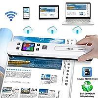 ماسح ضوئي محمول HOMEOW واي فاي مع إعداد دقة OCR Tech 4 و2 وضع المسح الضوئي اللاسلكي A4 تصميم ثنائي البكرة للكمبيوتر المحمول ماك ويندوز حاسوب وشملت بطاقة ذاكرة ذاكرة 16 جيجا بايت