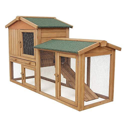 Funhobby italia srl aqpet gabbia per conigli conigliera pollaio con tetto da xl da esterno in legno doppio piano 147x53x85h cm