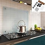 Melko Spritzschutz Herdblende aus Glas, für Küche, Herd, Fliesen, 6 mm ESG Sicherheitsglas, Küchenrückwand, inkl. Schrauben, 70 x 50 cm, Milchglas