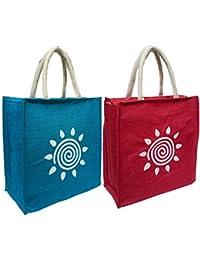 Styles Creation Combo Of Multipurpose Waterproof Designer Stylish Trendy Handicraft Jute Lunch Tiffin Handbag...
