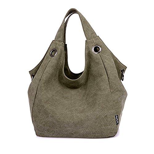 Milya Canvas-Schultertasche Mode Handtasche Beutel Umhängetasche Damentasche Reisetashe Schule Tasche Rucksack Khaki grün, Kaffeebraun, schwarz Amy Green