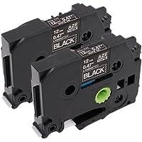 2x Schriftband für Brother TZe-335 TZE335 TZ 335, weiß auf schwarz laminiert, 12mm x 8m, Kompatibel mit Brother P-Touch PT-1000, GL-H105, GL-200, PT-1080, PTE-550WVP, PT-P700, PT-H300, PT-D400