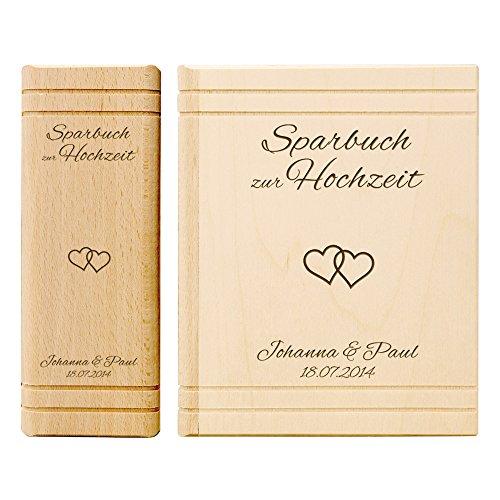 Casa Vivente Spardose aus Holz in Buchform mit Gravur - Sparbuch zur Hochzeit - Herzen - Personalisiert mit Namen und Datum - Hochzeitsgeschenk