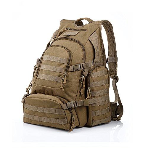 YAKEDA® Männer und Frauen, Schulterbeutel der großen Kapazität Tasche wasserdicht taktischer Rucksack im Freien Militärrucksack 60L - A88042 (Schlammfarbe) Schlammfarbe