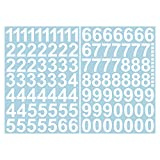 Leicht anzubringende Zahlen Aufkleber 4cm in weiß glänzend - 101 HOCHWERTIGE KLEBEZAHLEN - selbstklebende Ziffern und Nummern 0-9 - Wasser und wetterfest ideal für den Außenbereich