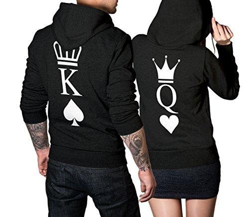 *King Queen Pullover Pärchen Set – 2 Hoodies für Paare – Couple-Pullover – Geschenk-Idee – Herz/Pik -schwarz (King 3XL + Queen M)*