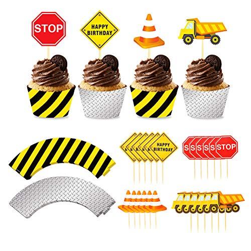 Phogary 24 Paquetes Construcción Cupcake Toppers y envoltorios, Zona en construcción Suministros...
