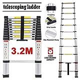 Scala telescopica in alluminio, 3 m, multiuso, con 11 gradini per uso domestico industriale quotidiano o di emergenza, 150 kg, grande capacità di carico