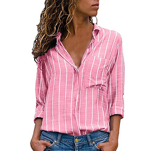NEEKY Damen Gestreifte Bluse Sale, Frauen Casual Button Down Shirts Freizeit  V-Ausschnitt Langarmshirts mit Taschen(EU 42 CN XL, Rosa) 59072fc81b