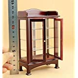 Eatingbitiing Eatingbiting R 1:12 Dollhouse Miniature Doll Furniture Wooden Brown Display Cabinet Cupboard for Fairy Home Scene