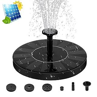 ZealBea Focus Solar Fountain Pump, Solar Powered Bird Bath Fountain Freestanding Submersible Solar Outdoor Panel Kit Water Pump for Birdbath, Pond, Pool,Garden Fish Tank and Lawn【2018 Upgraded】