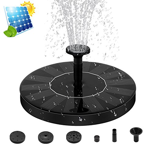 Fuente Solar Bomba, [ZealBea Focus] Energía Solar al Aire Libre de pie Fountain Pump, Bomba Flotante con Panel Solar [Trabajar de Forma Automática] [Libre de Mantenimiento] Jardín Solar Kit de Bomba de Agua, Riego Bomba Sumergible para Jardín y Birdbath y Estanque. (2018 Actualizado, Negro)