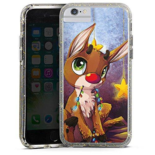 Apple iPhone X Bumper Hülle Bumper Case Glitzer Hülle Reindeer Rentier Rudolf Bumper Case Glitzer gold