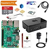 Globmall ABOX Raspberry Pi 3 Modello B Starter Kit e 32GB Micro SD Card con NOOBS, Black Case e Power Supply 5V 2.5A con Switch