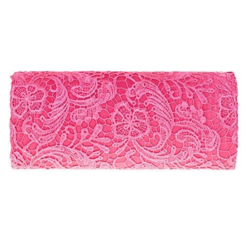 UKFS Floreale Modello Merletto Pochette Da Giorno / Ragazze Delle Signore Progettista Cerimonia Nuziale Della Spalla Sacchetto / Sacchetto Di Sera (Crema) Rose