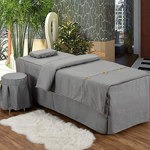 JIAOXM Beauty Salon 4-Piece Set Mit Perforierter Massagetisch-bettdecke,feines Leinen Baumwolle Massage Tischlaken,massageliege Auflage Set-d 185x70cm(73x28inch) -