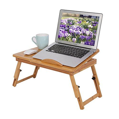 Cocoarm Bambus Laptop Schreibtisch, Frühstück Serving Bett Tablett Einstellbare BettTablett Tisch...