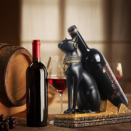 Especificaciones: Nombre: Estante de vino egipcio de Dios Material: resina avanzada. Color: negro y dorado. Tamaño: 22 x 10 x 22,5 cm. Peso: 970 g aprox. Lista de elementos: 1 estante para vino (no incluye botella de vino). Consejo: 1. Este produc...