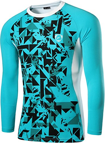 jeansian Uomo Moda Stampa Geometrica Manica Lunga Sportivo Casuale Gym Fashion T-Shirts Camicie LA197 LightBlue