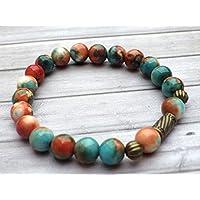 Bracelet tibétain pour femme style vintage en perles de jade blanc naturel teinté en marron, orange et bleu, perles en bronze antique