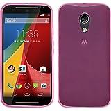 Funda de silicona para Motorola Moto G 2014 2. Generation - transparente rosa - Cover PhoneNatic Cubierta + protector de pantalla