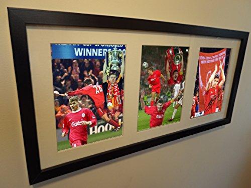 Autogramm, signiert von beruflichen Collage Foto Liverpool Gerrard Europäischen FA Cup (Autogramm Collage)
