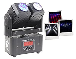 BoomToneDJ Twinny Beam Eclairage LED double mini pour DJ Noir